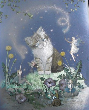 Beautiful and Magical fairy cat Oil Paintings